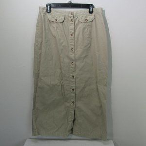 White Stag Khaki Midi Skirt Button-up Women's S 16